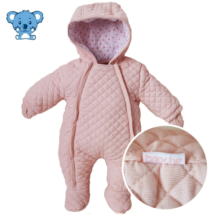 Snowsuit Baby Infant Girl Snowsuit Cotton 0-6Months Pink White Hooded Newborn Baby Girl Winter Clothes Warm Baby Clothes#72-7/42