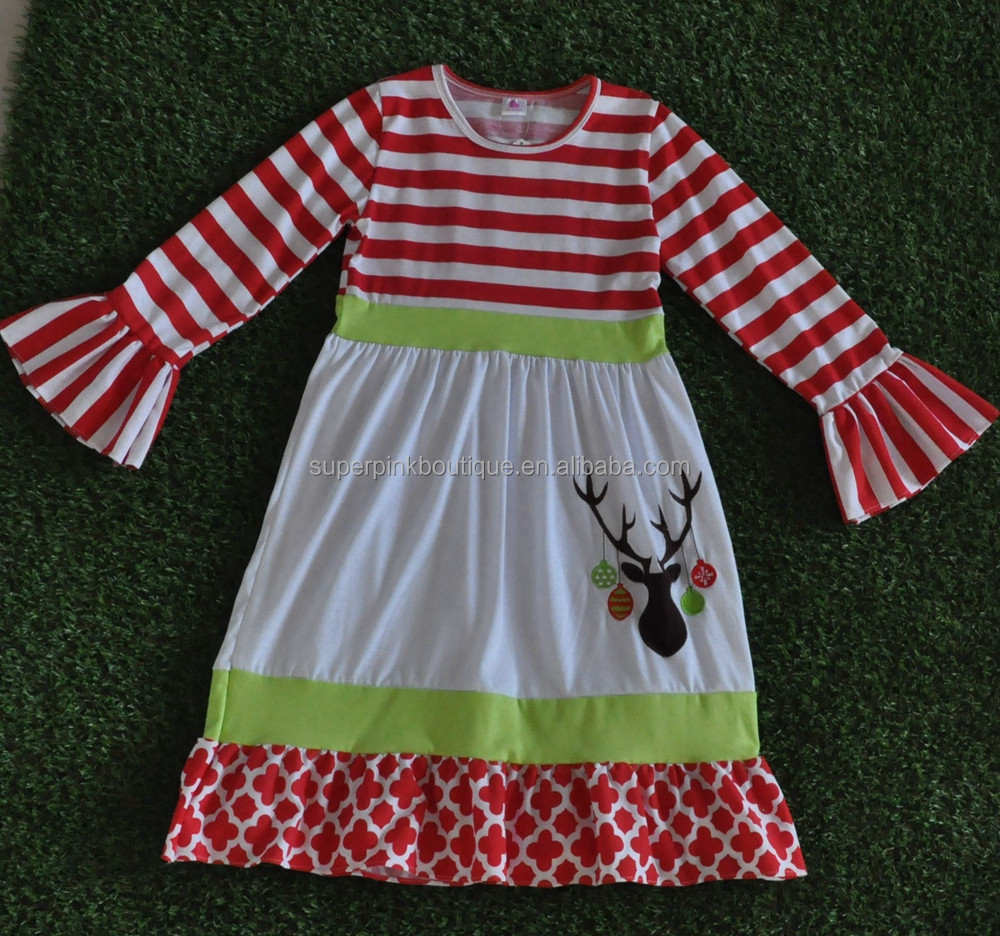 2016 BEST SELLING 100% COTTON REINDEER CHRISTMAS BABY DRESS