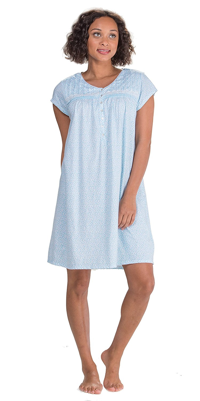 Buy Eileen West Modal Knit Cap Sleeve Mid-length Nightgown in Liquid ...