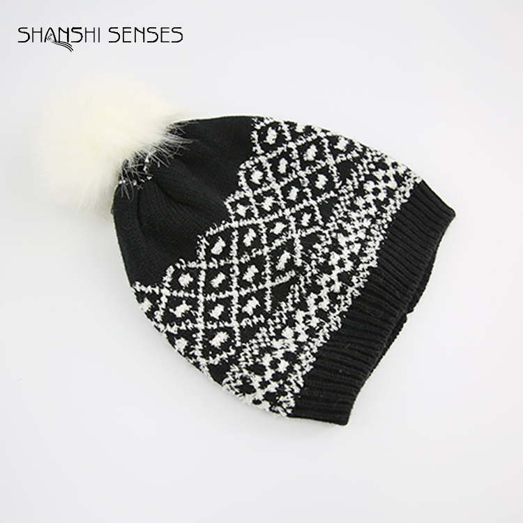 scarf attached boy pom pom beanie men knitted hat with led light