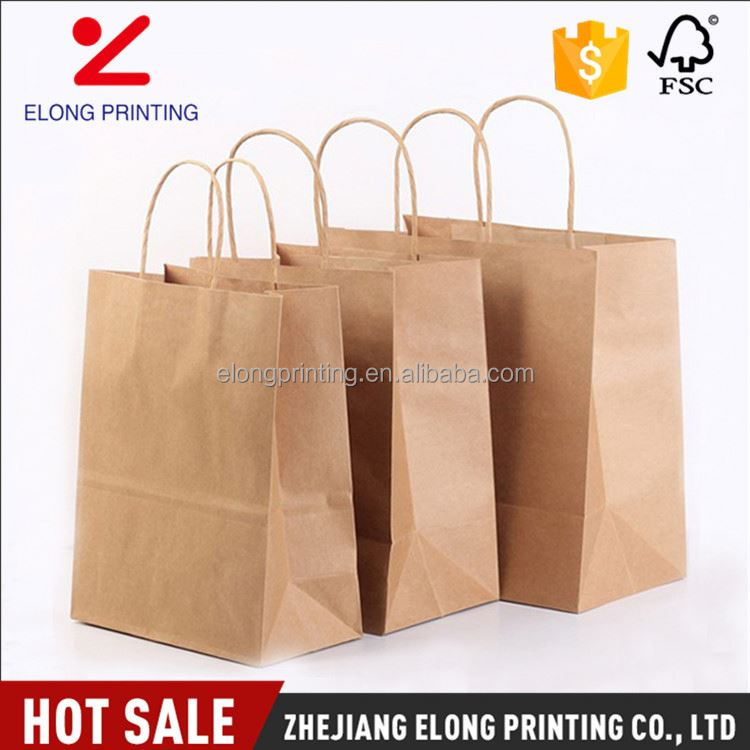 High performance OEM design brown shopping packing paper goodie bags