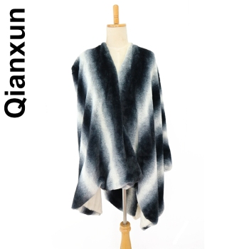 Fashion Women's Large Faux Fur Blanket Poncho Shawl Capes Wraps Mantel Scarf Shawl