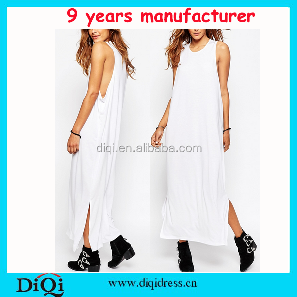 Woman Clothes Blank White T-shirt Dress Tall Tube Drop Armhole Women Sexy Maxi Dress Long Dresses
