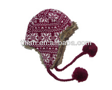 soft acrylic knitted ski hats with ear flaps