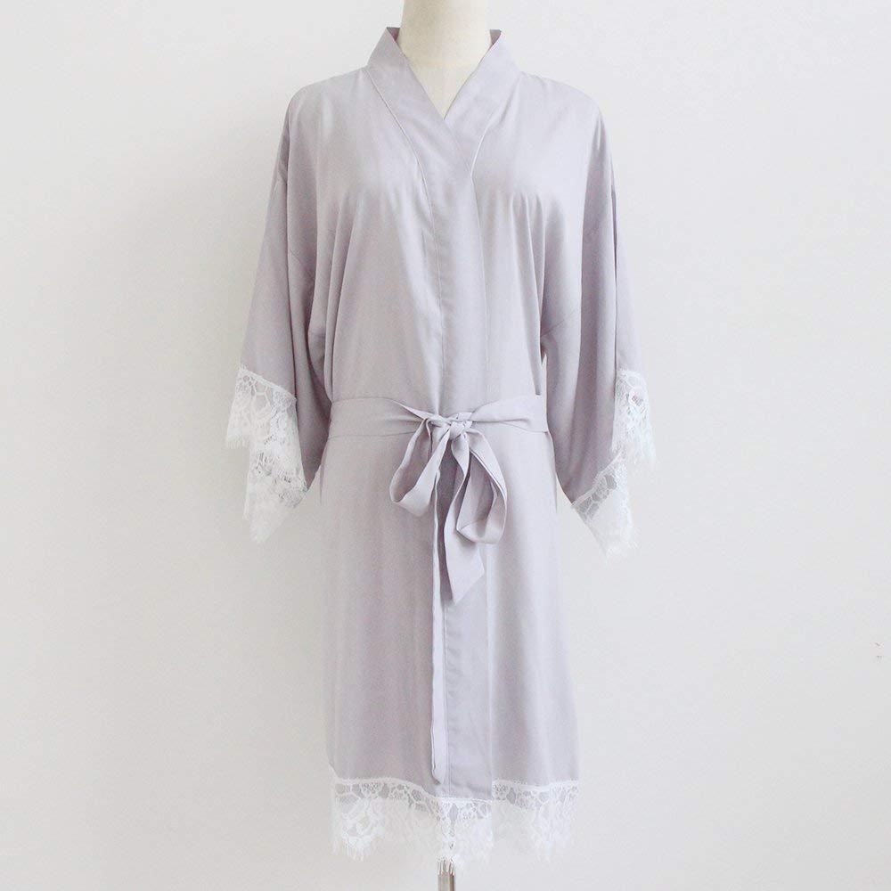 d2441e431f Get Quotations · Light Grey Women Kimono Robe(with lace trims)-Bridesmaid  Kimono Robe-bridesmaid