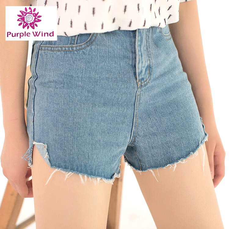 New Style 100%cotton raw edges denim womens shorts