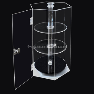 Acrylic Spinning Hexagonal display Case 4-tier showcase with locked door
