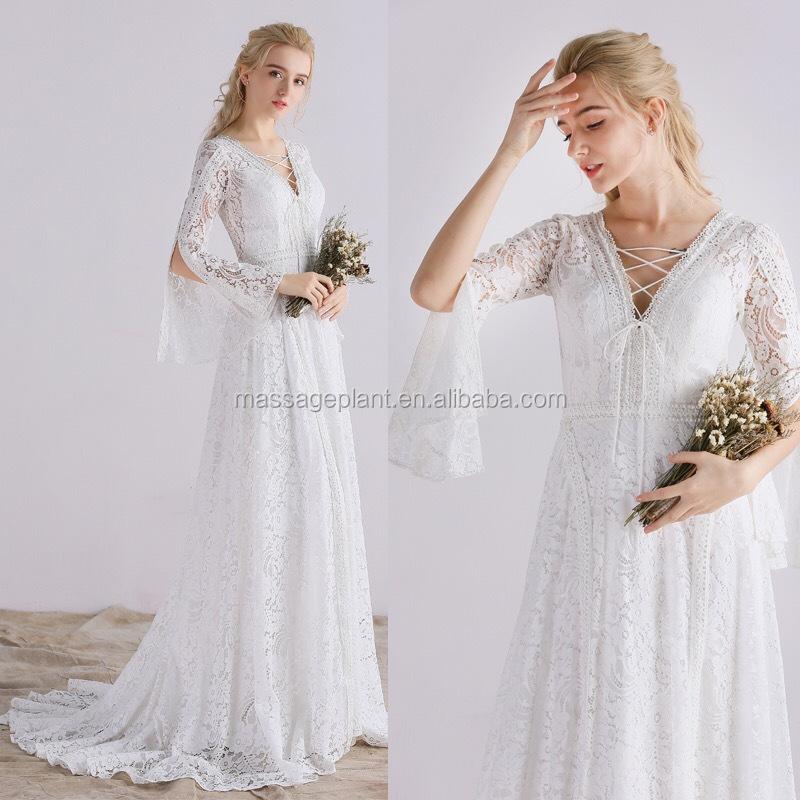 Boho Spitze Brautkleid Einfachen Weißen Ärmel Lange Hochzeit Kleid ...