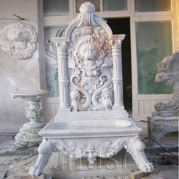 Garden Decoration Stone White Marble Lion Head Waterfall Wall Fountain