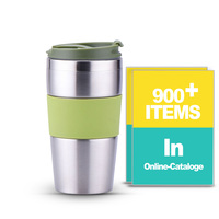 Promotional Drinkware 14oz 400ml Tumbler Double Walled Metal Drinking Tumbler with Rubber Band TMSS0217