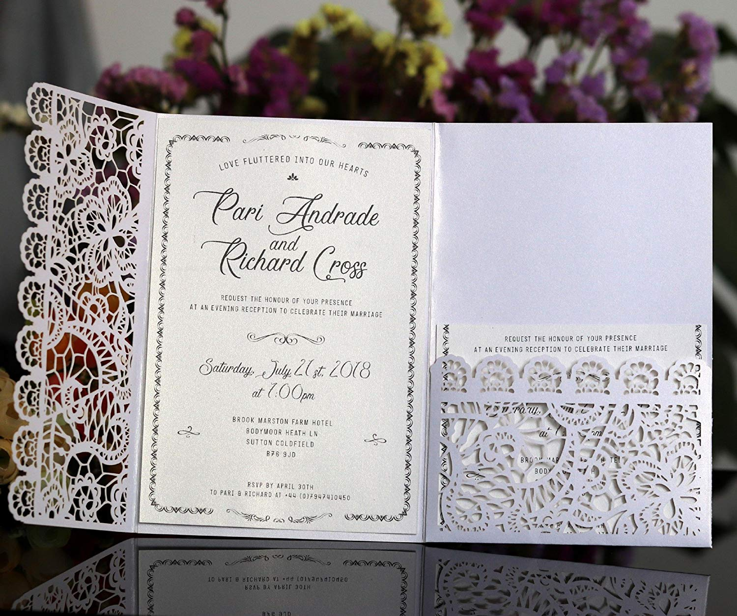 Cheap online wedding invites find online wedding invites deals on get quotations feiyi 20pcs 3 folds laser cut lace flower pattern invitations cards for birthday baby shower wedding filmwisefo