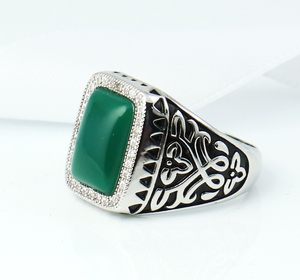 Cubic Zirconia Turkish Jewelry Design China Factory Wholesale Green Onyx White Gold Gemstone Ring for Man