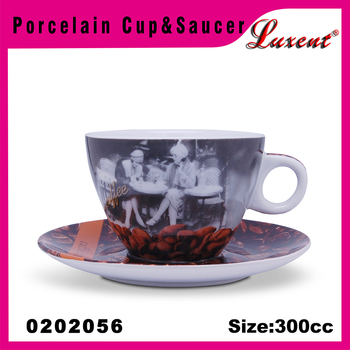 Porcelain Cuccino Decal Jumbo Coffee Cup And Saucer Set View Larger Image