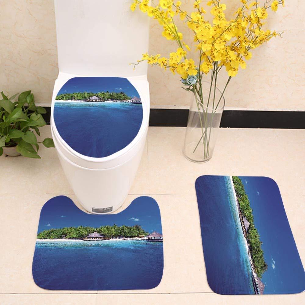 YGUII 3 Piece Bathroom Mat Set,Travel Decor,Outdoor Terrace Patio Flowers with Mountain Ocean Sea Scenery,Green Sky Blue and White,Bath Mat,Bathroom Carpet Rug,Non-Slip