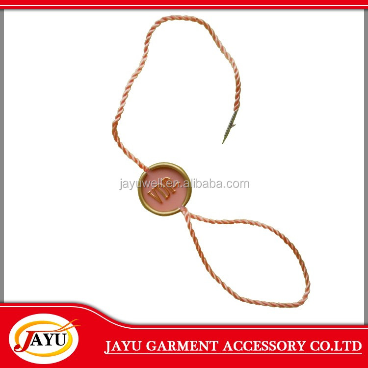 Gold foil logo stamping garment metal seal tag with cord
