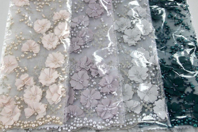 Top Fashion Hand Made Heavy Beaded Pearled French Lace Fabric 3d ...