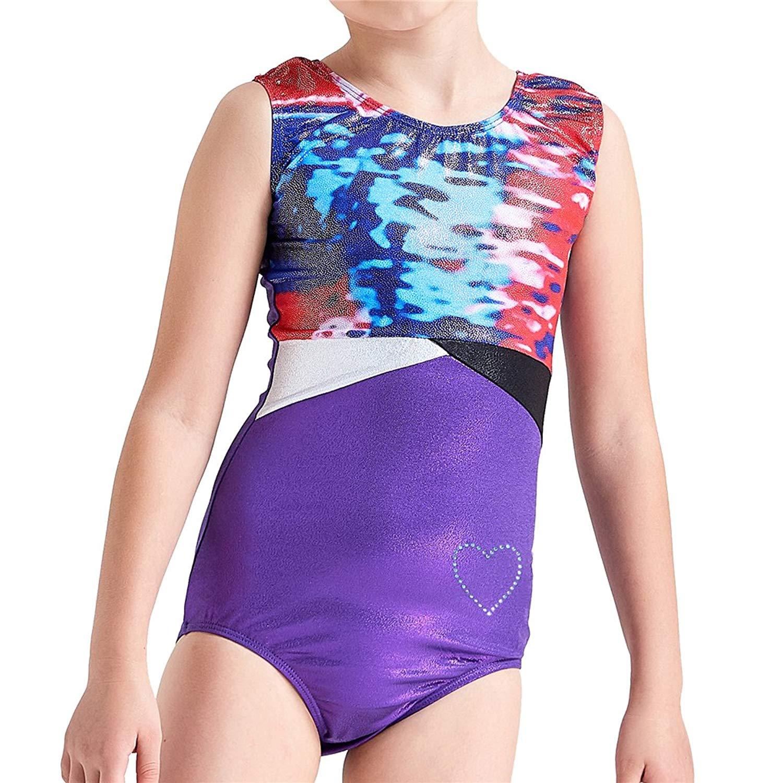 13ff830bbd2b Get Quotations · SanReach Girls Spliced Shiny Metallic Athletic Dance Gymnastics  Leotard Unitards Outfit