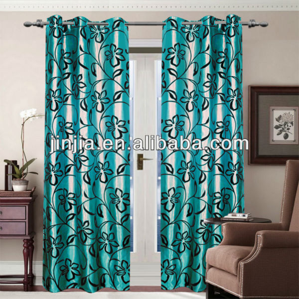 Brazile style 2013 new fashion Flocked ready made curtains pattern five