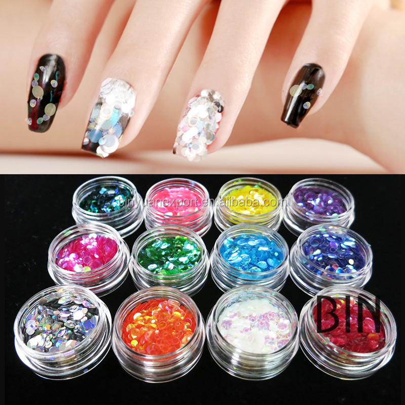 2.5g/jar & bulk KGS bag High Quality Nail flake Glitter /Powder For Nail Decoration