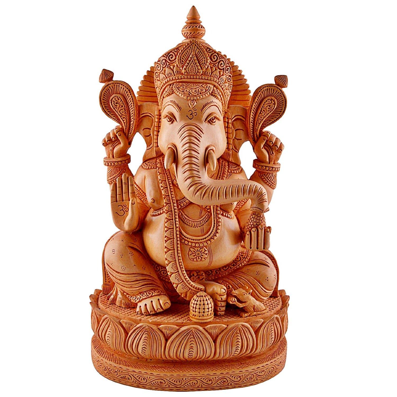 Craftvatika Large 1 2 Feet Ganesh Ganesha Statue Wooden Hand Carved Elephant Lord Ganesha Ganpati Temple