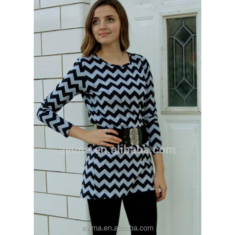 84cf39a7830 women designer tunic 3/4 sleeve black and gray chevron indian tunics