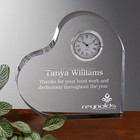 Crystal Clock Wedding Gift Heart Shape with Customized Logo for Souvenirs Favor