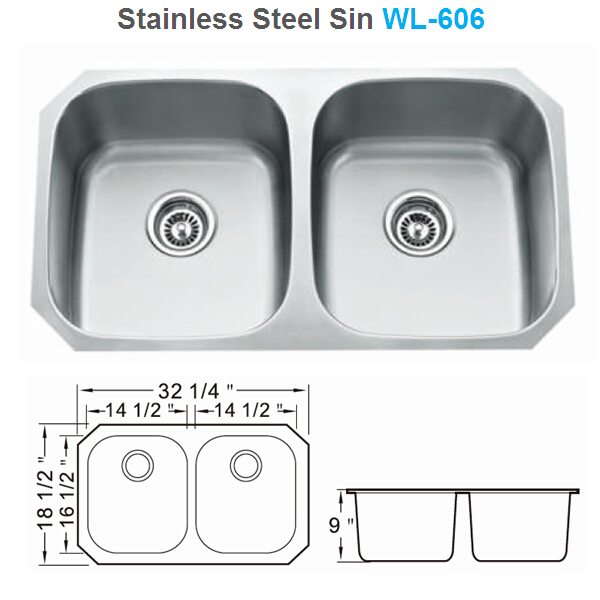 UPC Approved Undermount Stainless Steel 50/50 Kitchen sink