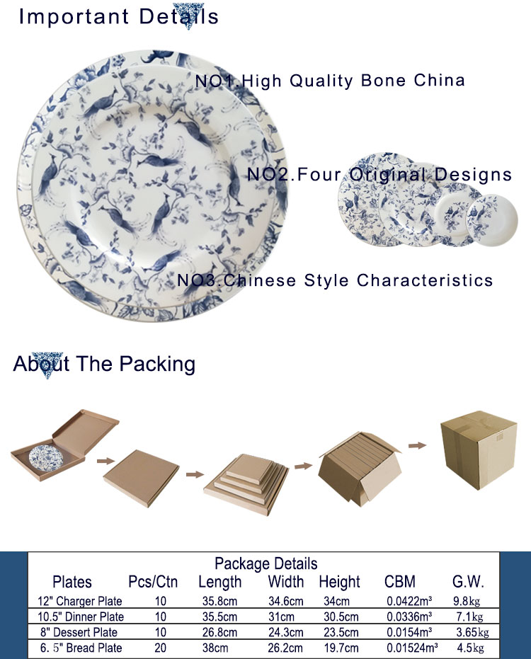 New products fine bone china wedding charger plates wholesale