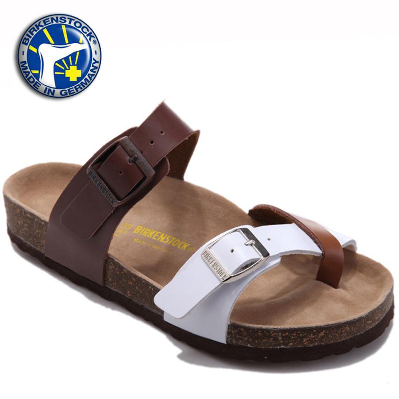 af3b617f08e 2015 Summer leather Birkenstock women gladiator sandals flip-flops cork  shoes