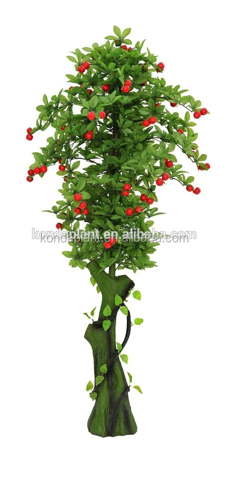 Chinese Factory Bonsai Fruit Trees Plastic Artificial Fruit CherryTree For Sale