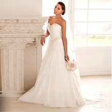 Beaded  Cheap Stock Chiffon Beach China ball gown Elegant Backless Bridal Dress Plus Size 2016 a line Wedding Dresses