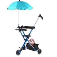 High Quality Low Price Folding Travel Portable Three Wheel Children Bicycle Stroller Baby Tricycle With Canopy