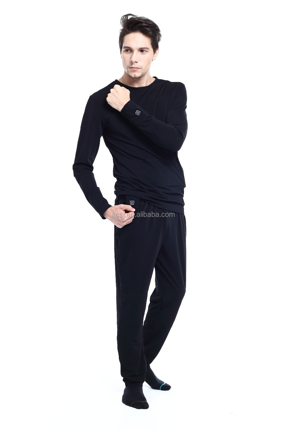 thermal breathable man long sleeve wool heated long underwear