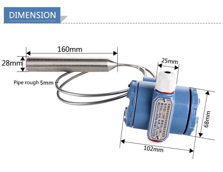 ถังน้ำมันเชื้อเพลิงดีเซลเซ็นเซอร์ระดับ 4-20mA วัสดุเหล็กลึกระดับน้ำเมตร