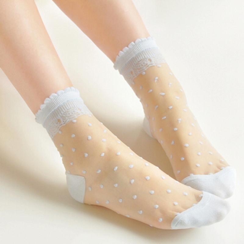 New 2016 Ultrathin Transparent Beautiful Crystal Lace Elastic Short Socks 1 Pair Colorful Dot Design Free