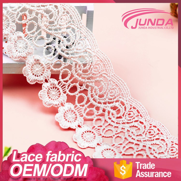 OEM luminous yarn water soluble polyester cord african french net guipure fabric lace trim