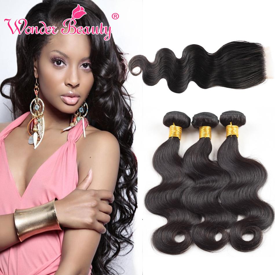 Malaysian Virgin Hair 3 Bundles Body Wave Human Hair Weaves With Closures Wonder Beauty Malaysian Hair