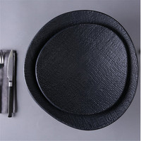 Hotel restaurant used black matte dinnerware sets food serving ceramic dinner plates