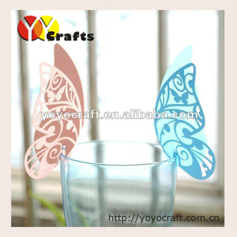 "2014 yoyocraft ""butterfly"" shape Laser Cut Place Card For Wine Glass / Place Name Card/ Wedding Place card"