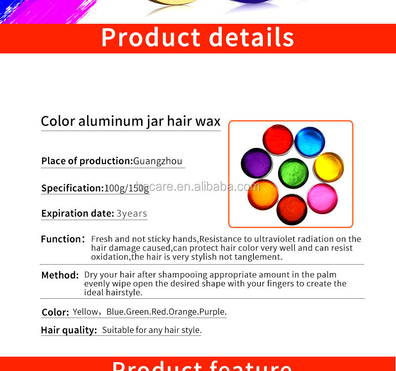 Washable hair style shine wax easy use water based hair styling wax for men