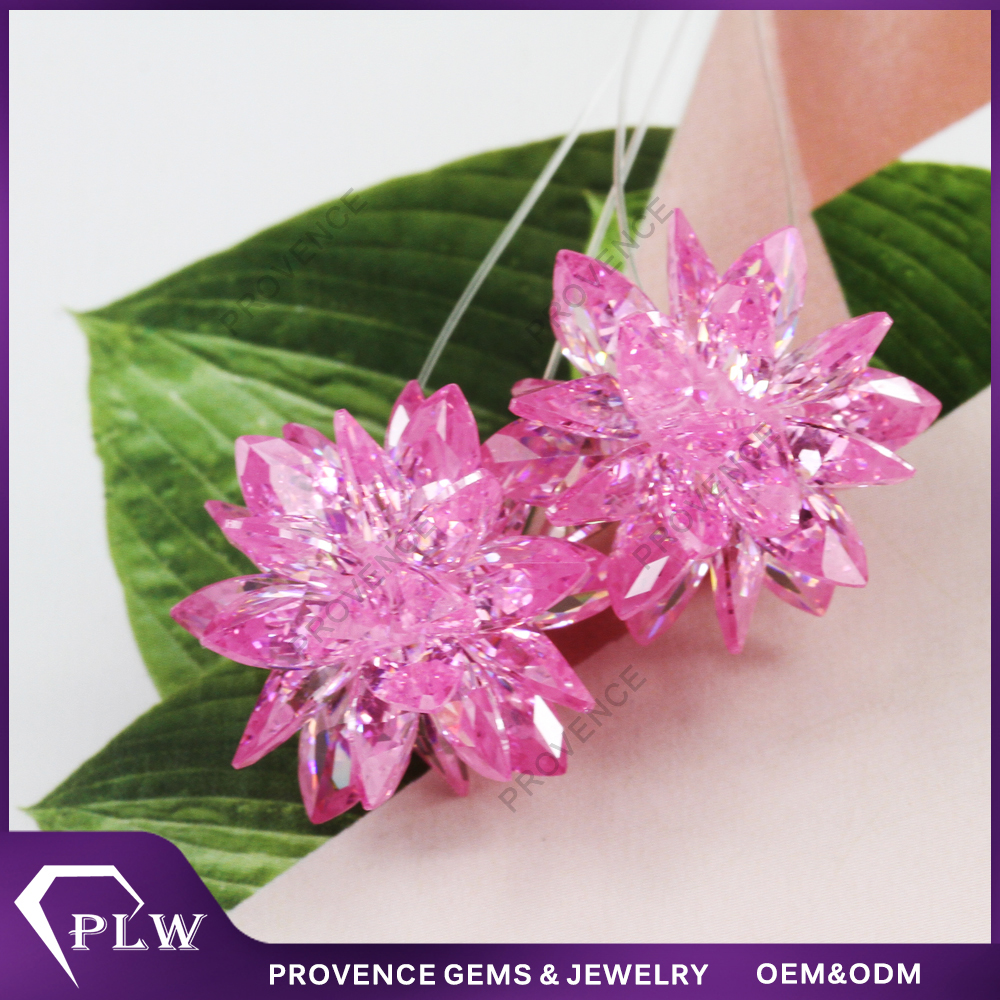 Wholesale Price Pink DIY Flower Cubic Zircon