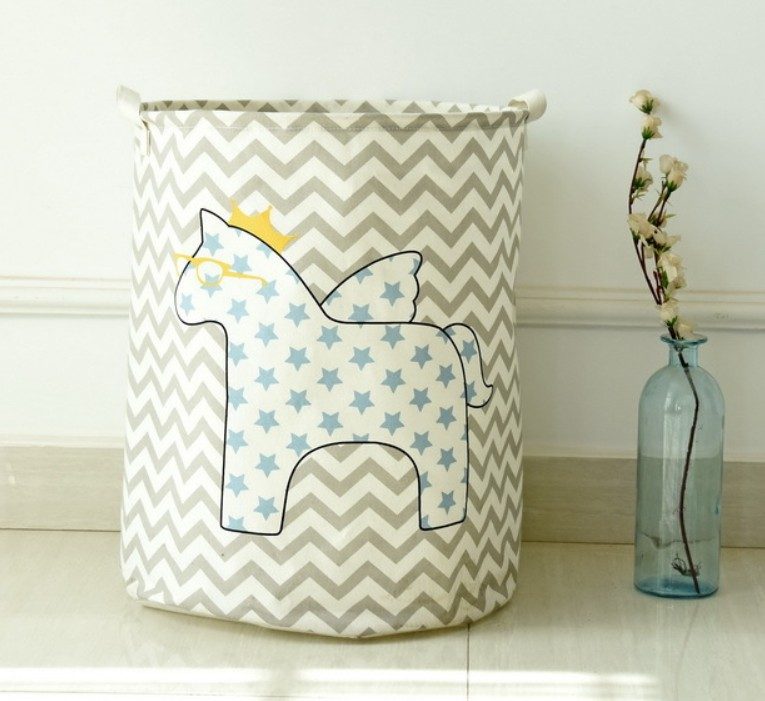 Hippo laundry hamper printing cotton canvas foldable laundry basket for kids