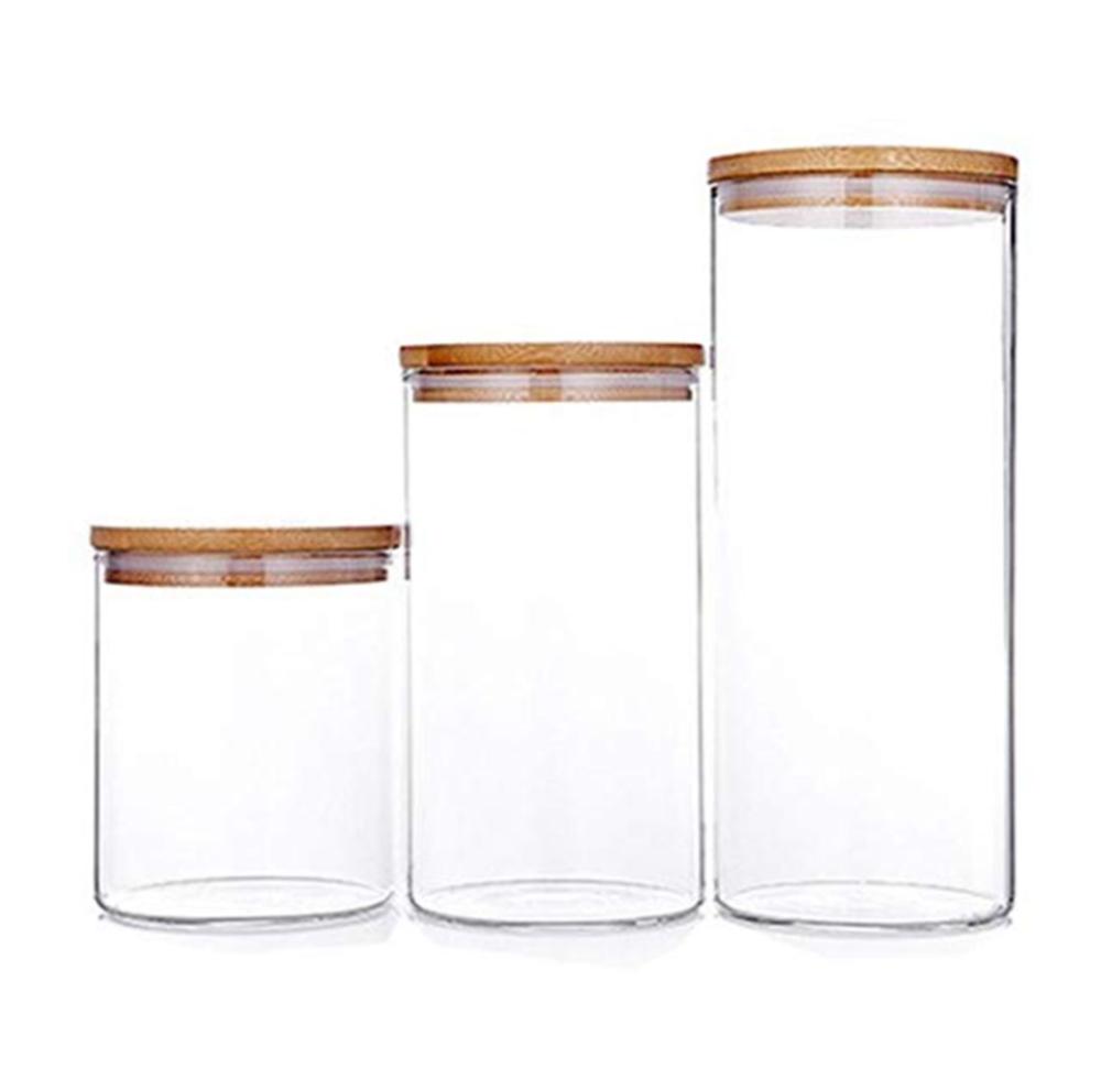 Alibaba.com / High Borosilicate Glas  Food Storage Jar with Airtight Seal Bamboo Lid - Modern Design Clear Glass Food Storage Canister