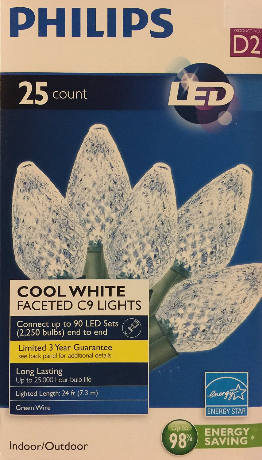philips 25ct cool white led faceted c9 string christmas lights