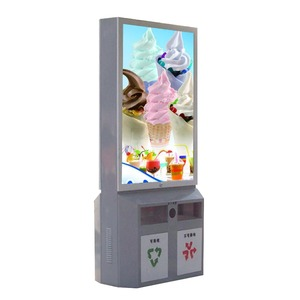 Road advertising double sided light box trash bin city mupi