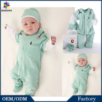 100 cotton newborn baby boy small doctor dress up romper mint green long sleeves cute