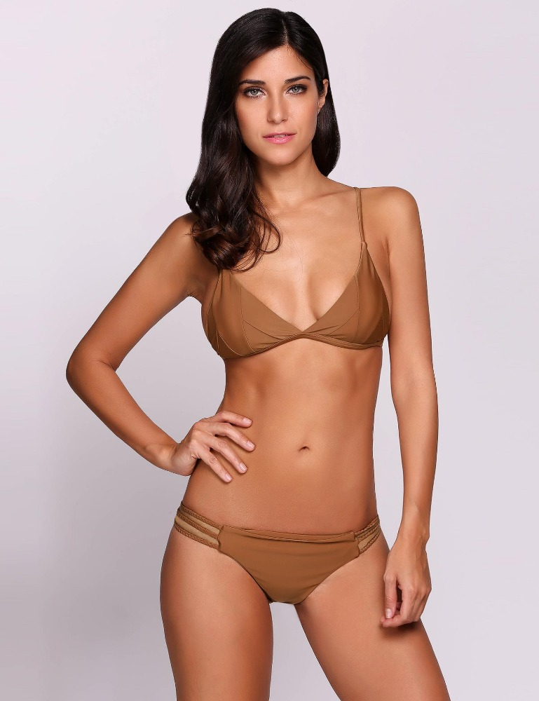 Solid Cut Out <strong>Sexy</strong> Women's Split Bikini Set Swimwear