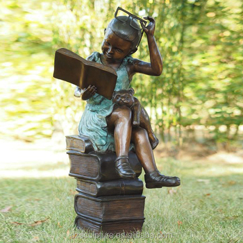 Life Size Children Garden Statues Girl Reading Book