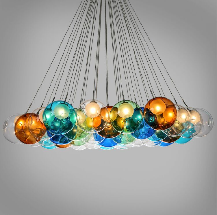 diy bubbles colorful glass modern pendant lamp home or holiday decorative lighting fixture led. Black Bedroom Furniture Sets. Home Design Ideas