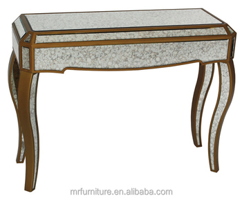 MR 4T0093T Antique Gold Distressed Mirrored Console Table
